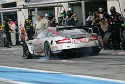 Pit stop for #4 Hexis AMR Aston Martin DB9: Andres Riccini, Christian Hohenadel