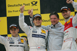 Podium: race winner Bruno Spengler, Team HWA AMG Mercedes, second place Jamie Green, Team HWA AMG Me