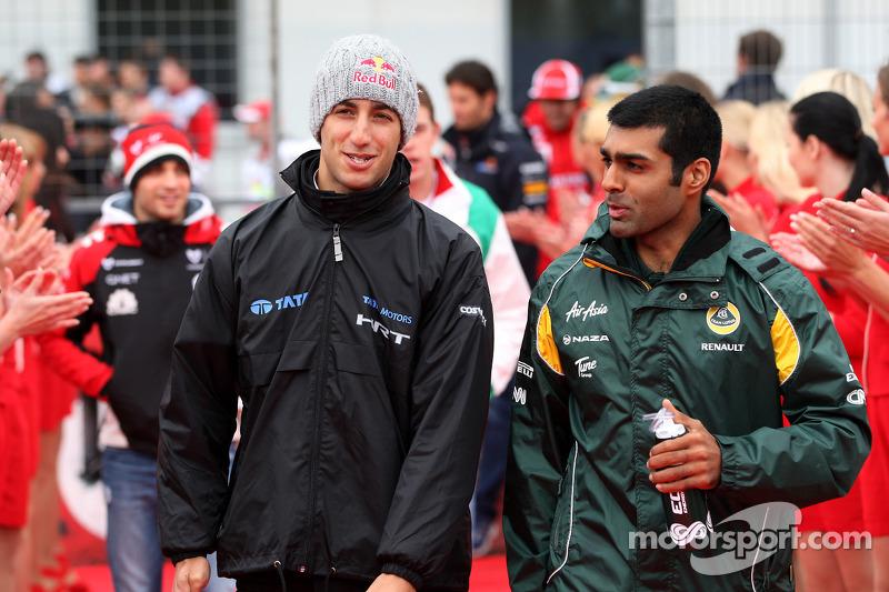 Daniel Ricciardo HRT Formula One Team, Karun Chandhok, test driver, Lotus F1 Team
