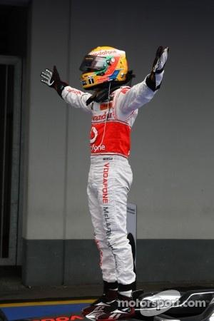 Lewis Hamilton celebrates his German GP victory