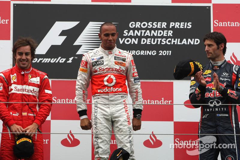 Podyum: Yarış galibi Lewis Hamilton, McLaren Mercedes, 2. Fernando Alonso, Scuderia Ferrari, 3. Mark