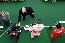 Podium: race winner Lewis Hamilton, McLaren Mercedes, second place Fernando Alonso, Scuderia Ferrari, third place Mark Webber, Red Bull Racing