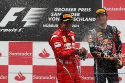 Podium: second place Fernando Alonso, Scuderia Ferrari, third place Mark Webber, Red Bull Racing