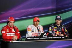 Race winner Lewis Hamilton, McLaren Mercedes, second place Fernando Alonso, Scuderia Ferrari, third