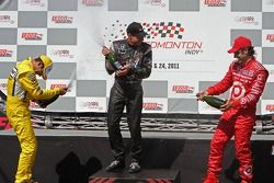 Helio Castroneves, Team Penske, Will Power, Team Penske and Dario Franchitti, Target Chip Ganassi Ra
