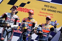 Podium : le vainqueur Casey Stoner, Repsol Honda Team, le deuxième Jorge Lorenzo, Yamaha Factory Racing, et le troisième Dani Pedrosa, Repsol Honda Team