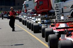 F2 cars wait in the pitlane