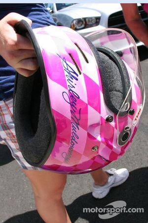 Shirley Muldowney's traditional pink helmet