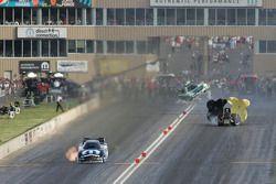 John Force, Castrol GTX High Milage Ford Mustang, Matt Hagan, DieHard Dodge Charger