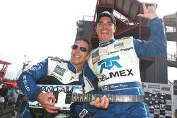 Race winners Scott Pruett and Memo Rojas celebrate