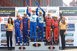DP podium: race winners Scott Pruett and Memo Rojas, second place Max Angelelli and Ricky Taylor, th