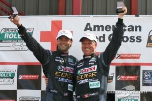 GT podium: class winners Jonathan Bomarito and Sylvain Tremblay