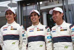 2011 Sauber Driver line up Esteban Gutierrez, Sauber F1 Team with Sergio Perez, Sauber F1 Team and Kamui Kobayashi, Sauber F1 Team