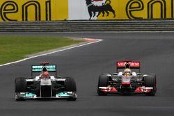 Michael Schumacher, Mercedes GP F1 Team and Lewis Hamilton, McLaren Mercedes