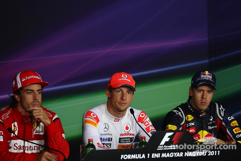 Press conference: race winner Jenson Button, McLaren Mercedes, second place Sebastian Vettel, Red Bu