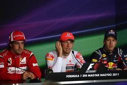 Press conference: race winner Jenson Button, McLaren Mercedes, second place Sebastian Vettel, Red Bull Racing, third place Fernando Alonso, Scuderia Ferrari