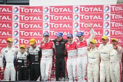 Podium: second place Need For Speed Team Schubert BMW Z4 GT3: Dirk Werner, Claudia Hürtgen, Edward Sandström: winners Audi Sport Team WRT Audi R8 LMS: Mattias Ekström, Timo Scheider, Gregory Franchi, third place Black Falcon Mercedes SLS AMG,Thomas Jäger,