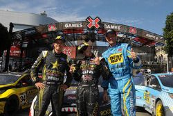Tanner Foust, Brian Deegan and Marcus Gronholm celebrate the Fiesta podium sweep