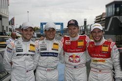 Pole Mattias Ekström, Audi Sport Team Abt, met 2de Jamie Green, Team HWA AMG Mercedes, 3de Mike Rock