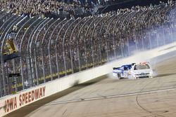 Ricky Stenhouse Jr. blows an engine on the last lap as second place, Carl Edwards slams into the rea