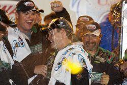 Victory lane: race winner Ricky Stenhouse Jr. celebrates