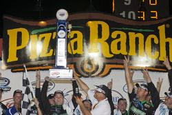 Victory lane: race winner Ricky Stenhouse Jr. celebrates