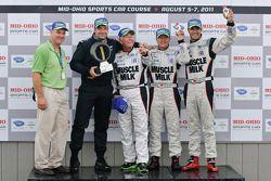 Michelin Green X Challenge podium: LMP winnaars Lucas Luhr en Klaus Graf