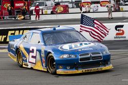 Race winner Brad Keselowski, Penske Racing Dodge celebrates