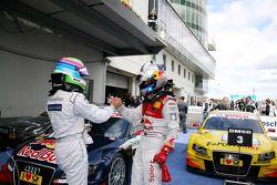 Race winnaar Mattias Ekström, Audi Sport Team Abt, 2de Bruno Spengler, Team HWA AMG Mercedes