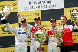Podium: race winner Mattias Ekström, Audi Sport Team Abt, second place Bruno Spengler, Team HWA AMG
