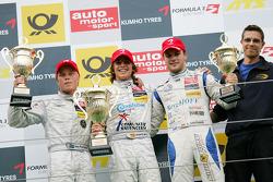Podium: race winner Roberto Merhi, Prema Powerteam Dallara F308 Mercedes, second place Timo Scheider,, Audi Sport Team Abt Sportsline, Audi A4 DTM, third place Laurens Vanthoor, Signature Dallara F309 Volkswagen
