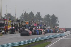 NASCAR Sprint Cup field on pit lane during rain delay