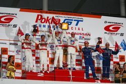 GT500 class podium: winners Takashi Kogure, Loic Duval, second place Masataka Yanagida, Ronnie Quint