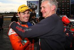 Craig Lowndes celebrates after winning the Coates Hire Ipswich 300