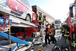 Aachen, Germany, accident on the A4 in direction Aachen, a Belgian Truck hits the Team Torro supporter car truck in the back