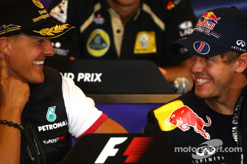 basın toplantısı: Michael Schumacher, Mercedes GP ve Sebastian Vettel, Red Bull Racing