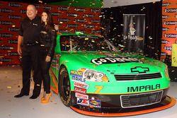 Go Daddy CEO Bob Parsons and Danica Patrick pose with the #7 GoDaddy.com Chevrolet