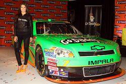Danica Patrick poses with the #7 GoDaddy.com Chevrolet