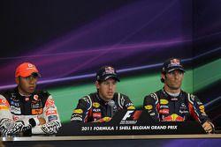 Conferencia de prensa: Ganador Polo Sebastian Vettel, Red Bull Racing, segundo lugar Lewis Hamilton,