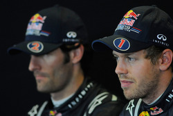 Press conference: race winner Sebastian Vettel, Red Bull Racing, with second place Mark Webber, Red