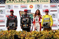 Podium: race winner Will Power, Team Penske, second place Helio Castroneves, Team Penske, third plac