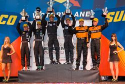 LMP1 podium: class and overall winners Humaid Al Masaood and Steven Kane, second place Chris Dyson and Guy Smith, third place Tony Burgess and Chris McMurry