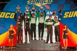 GTC podium: class winners Tim Pappas and Jeroen Bleekemolen, second place Bill Sweedler and Leh Keen, third place John Potter and Craig Stanton