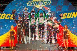 GTC podium: class winners Tim Pappas and Jeroen Bleekemolen, second place Bill Sweedler and Leh Keen