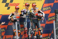 Podio: segundo lugar Dani Pedrosa, Repsol Honda Team, ganador de la carrera Jorge Lorenzo, Yahama Fa