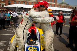 Race winner Gustavo Yacaman, Team Moore Racing celebrates with second place Josef Newgarden, Sam Sch