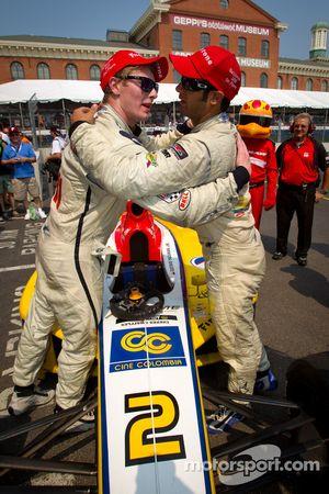 Race winner Gustavo Yacaman, Team Moore Racing celebrates with second place Josef Newgarden, Sam Schmidt Motorsports