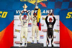 Podium: race winner Gustavo Yacaman, Team Moore Racing, second place Josef Newgarden, Sam Schmidt Motorsports, third place Victor Carbone, Sam Schmidt Motorsports