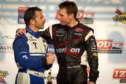 Podium: race winner Will Power, Team Penske, second place Oriol Servia, Newman/Haas Racing