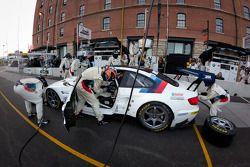 Pit stop for #56 BMW Motorsport BMW M3 GT: Dirk Müller, Joey Hand